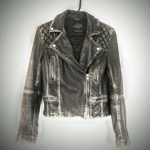 All Saints Black Leather Biker Cargo Jacket